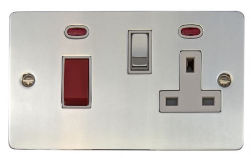 G&H FC229 Flat Plate Polished Chrome 45 Amp DP Cooker Switch & 13A Switched Socket